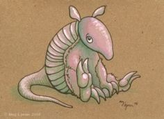 .Adorable Armadillo by Meg Lyman    Gouache and ink on notecard
