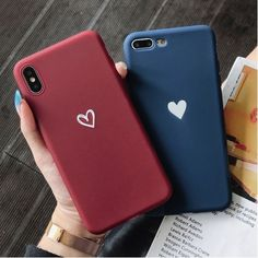 Simple but cute love heart iPhone case for girls & boys. heart Simple Couple Little Love Heart Matte Soft TPU Case for iPhone 11 Pro Max / XS Max / XS / XR / 8 / 7 / / 6
