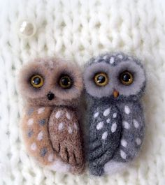 Brooch owl needle felted 217 inch by mySweeBe on Etsy