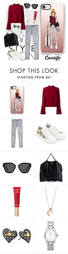 """Travel in style✈️"" by casetify ❤ liked on Polyvore featuring Casetify, Proenza Schouler, AG Adriano Goldschmied, Monsoon, Prada, STELLA McCARTNEY, Too Faced Cosmetics, ChloBo, Vivienne Westwood and Burberry"