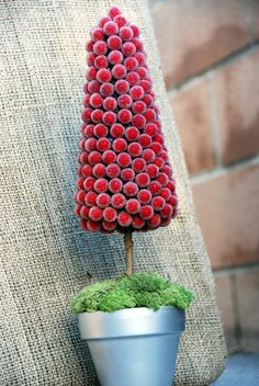 red berry christmas tree topiary craft - Christmas craft???  @Jennifer -- Purple Pixie in Dixie, @Sherri Roberts, @Melonie Napier, @Bethany Bradford Smith  what do you think?