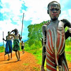 Nackte junge afrikanische Mädchen
