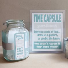 Check out this step by step tutorial on how to make a DIY time capsule guest book for your wedding day! So cute and free printables!