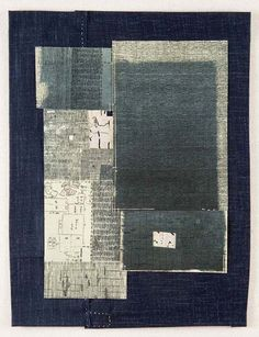 Yuko Kimura, Boro no. 1, intaglio, old Japanese book page, fabric, thread, 16 in x 12 in, 2008.  yukokimura.com