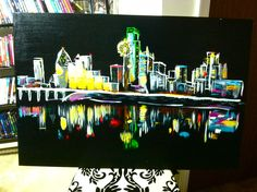 cool things to paint contemporary downtown painting skyline 31375