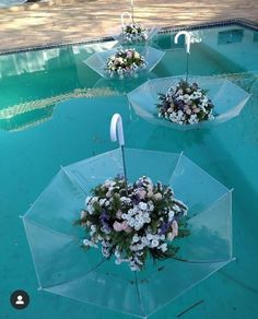 This arrangement literally turns an umbrella on its head to create floating centerpieces Wedding Stage, Diy Wedding, Wedding Flowers, Dream Wedding, Church Wedding, Bouquet Wedding, Wedding Nails, Wedding Things, Wedding Reception