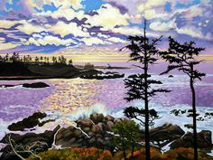 The personal website featuring original oil and acrylic paintings by Elissa Anthony, Salish Sea artist creating expressionist paintings of the Canadian West Coast, Gulf Islands and Vancouver Island, often including First Nations symbolism and motifs. Landscape Paintings, Watercolor Paintings, Landscapes, West Coast Trail, Beach Rocks, Canadian Art, Beginner Painting, Vancouver Island, Graphic Art