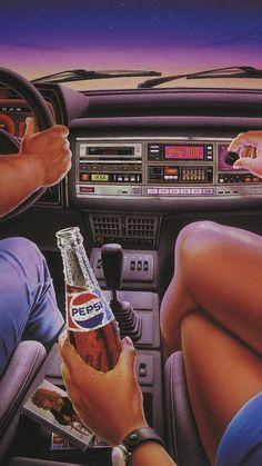 vaporwave desenho P E P S I - vaporwave 80s Aesthetic, Aesthetic Colors, Aesthetic Vintage, Aesthetic Black, Retro Kunst, Retro Art, Vintage Pop Art, Art Pop, Aesthetic Iphone Wallpaper