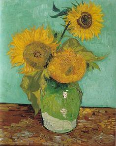Art of the Day: Van Gogh, Three Sunflowers, August 1888. Oil on canvas, 73 x 58 cm. Private collection.