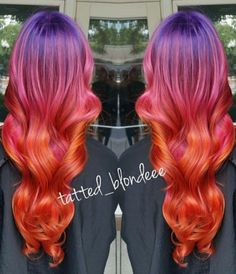 Purple orange ombre dyed hair @thehaircronicles_