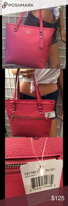 NWT Coach strawberry zip strawberry Tote $295 Strawberry color,Tote bag, zip closure, inside 2 open pockets and 1 zipper, backside 1 zipper pocket, leather hangtag, size medium, leather material, $295 retail. Thank you for looking Bags Totes