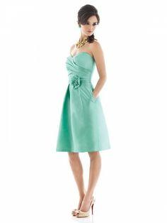 (NO.018844 )Sheath / Column Sweetheart  Ruffles  Sleeveless Knee-length  Satin Blue Bridesmaid Dress / Cocktail Dress / Homecoming Dress