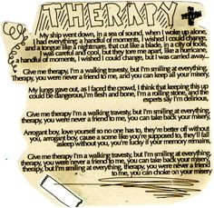 """""""therapy""""-- all time low"""