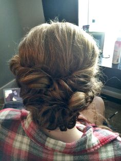 Curly, twisted updo I did for a homecoming! Perfect for girls with shorter, thicker hair for any formal event like prom or a wedding. || Hair by Kayla Johnson