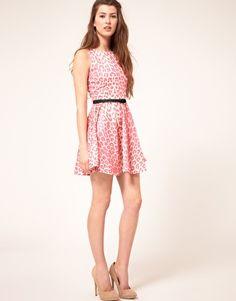 Pink leopard short dress