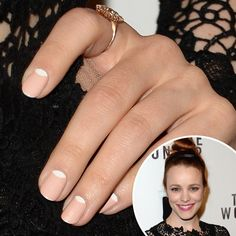 Rachel McAdams: A nude and white half-moon manicure was an ideal contrast to Rachel McAdams's black gown at the To the Wonder premiere..