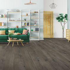 Brown, medium wood-look flooring. Pergo Extreme Wood Enhanced in Tiana