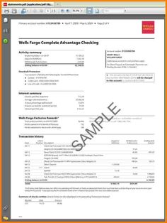 Sample Bank Statements Template New Bank Statement Template Wells Fargo Checking, Wells Fargo Account, Id Card Template, Bill Template, Card Templates, Bank Statement, Financial Statement, Application Letters, Statement Template