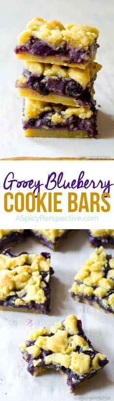 The Best Gooey Blueberry Cookie Bars | http://ASpicyPerspective.com
