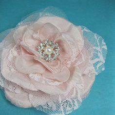 Blush Pink Lace Silk Dupioni Rose Hair Clip  J091 by HARTfeltart, $33.99