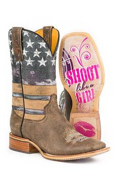 Tin Haul Shoot Like a Girl Cowboy Boots - HeadWest Outfitters #patriotic #flag #country
