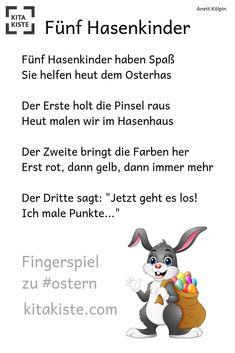 """""""Five rabbit children"""" - funny finger play to .- """"Fünf Hasenkinder"""" – lustiges Fingerspiel zu – a… """"Five rabbit children"""" – funny finger play too – from the eBook finger games"""" – to match the dots """"easter"""" for finger pressure / cotton swabs Kitakiste - Diy Crafts To Do, Crafts For Kids, Funny Fingers, Finger Games, Kindergarten Portfolio, Finger Plays, Infancy, Color Shapes, Toddler Preschool"""