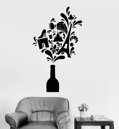 Wall Vinyl Decal Wine Vine Paris Travel Vacation by BoldArtsy