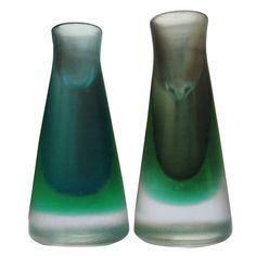 Rare Pair of 1950s Venini Murano Glass Candleholders at 1stdibs
