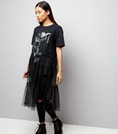 Petite Black Strappy Mesh Slip Dress   New Look
