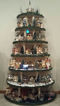 New diy christmas village display tree ideas Christmas Flower Decorations, Creative Christmas Trees, Diy Christmas Tree, Christmas Projects, Christmas Lights, Christmas Ideas, Vintage Christmas, Christmas Mantles, Silver Christmas