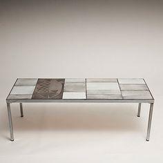 Roger Capron (Vallauris) - Coffee table. Glazed ceramic tiles, circa 1960.  http://www.galerieriviera.com