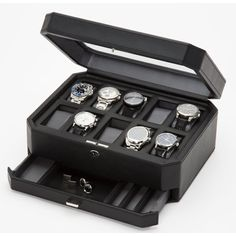 Windsor 10 Piece Watch Box with Drawer Mens Watch Box, Leather Watch Box, Watch Storage Box, Wood Frame Construction, House Gifts, Pre Owned Watches, Black Pebbles, Fine Watches, Jewellery Storage