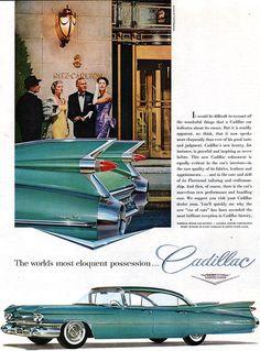 Turquoise Cadillac Sedan De Ville RITZ CARLTON Ceil Chapman Gowns FINS 1959 Ad