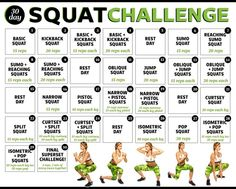 30-Day Squat Challenge--with gifs of each type of squat so that you know how to do them