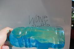 Ocean Wave Bottle - 1/2 bottle of colored water (mix this part first), add mineral oil or vegetable oil until the bottle is full. Gently rock the bottle back and forth and watch the wave.  Just because it is a wave bottle does not mean it needs to be blue. This bottle is fun in every color of the rainbow.  Seal lid with super glue.