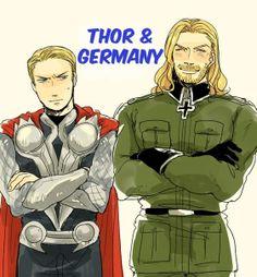 Hetalia and Avengers, Thor and Germany.