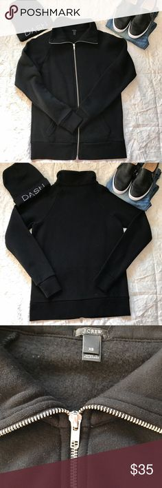 J. Crew Black Fleece Lined Track Jacket ❤ J. Crew Black Fleece Lined Track Jacket. Size XS - never worn, no tags.  Funnel neck, front pocket. 71% cotton/15% poly/14% tencel. 26 inches shoulder to hem. Great jacket to run errands in or wear to/from gym! J. Crew Jackets & Coats