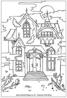 kinder ausmalbild geisterhaus  idea for kids activity - colouring page free printable