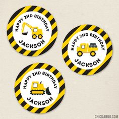 Chickabug - Construction Party Stickers - Sheet of 12 or 24, $6.00…