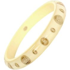 Pre-owned CHANEL Ivory & Gold Resin Bangle Bracelet ($550) ❤ liked on Polyvore featuring jewelry, bracelets, bangles, gold coin jewelry, ivory bangle bracelet, gold bangle bracelet, bracelet bangle and gold coin bracelet