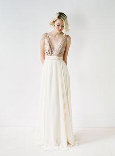 Eden // Rose Gold Sequinned Backless Wedding Dress by Truvelle