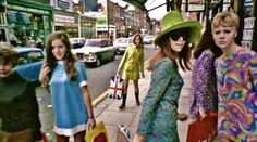 Mod girls on Carnaby Street, London 1967.