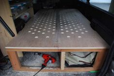Holes in the bedframe - airflow to avoid mold, and reduces weight