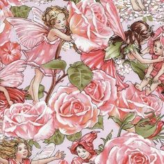 Flower Fairy Rose Sweet Garden Pink Cicely Mary Barker Fabric 1 yard. $9.50, via Etsy.