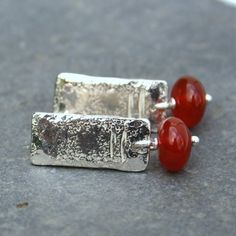 Notched silver and carnelian earrings £34.00