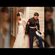 awesome Marine, bride pray defending palms round nook prior to wedding ceremony
