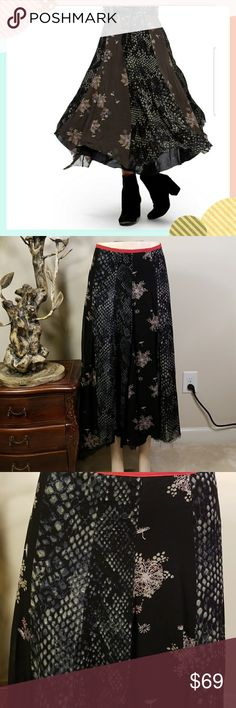 """Free People Rock On Maxi Skirt Brand new with tag Bohemian and romantic, this airy maxi skirt has layers of tatter-trimmed chiffon illustrated in tonal snakeskin and sprays of falling flowers. The lightweight piece easily spans the seasons with a quick change of your footwear. - Hidden side-zip closure - Lined - Approx. 34"""" length - Imported Fiber Content 100% viscose Care Machine wash cold, line dry Additional Info Fit: this style fits true to size.  MQ0001920000 Free People Skirts Maxi"""