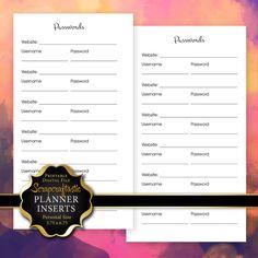 Password Log Planner Insert   #PersonalSize #Planner #Filofax #KikkiK #KateSpade #ColorCrush