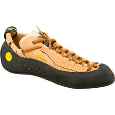 LaSportiva Mythos. I like the unlined leather uppers. I have wide feet--these buggers fit great after a few climbs. Also, the lace goes around your heal--makes me feel one with my shoe. :)