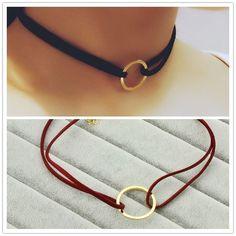 Новая мода ювелирные изделия кожа с круглый колье ожерелье подарок для женщины девушка N1828